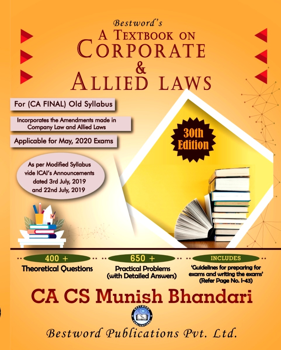 Bestword's Corporate and Allied Laws for CA Final for May 2020 exam by CA Munish Bhandari (Bestword's Publishing)