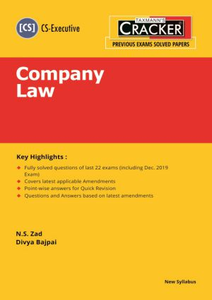 Taxmann Scanner for Company Law new syallabus for CS Executive by N.S. Zad (Taxmann's Publications) or June 2020 Exam