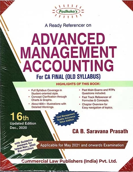 Padhuka A Ready Referencer on Advanced Management Accounting for CA Final by CA B. Saravana Prasath for 2021
