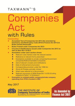 Taxmann Companies Act with Rules (Paperback Pocket Edition) May 2017 Edition