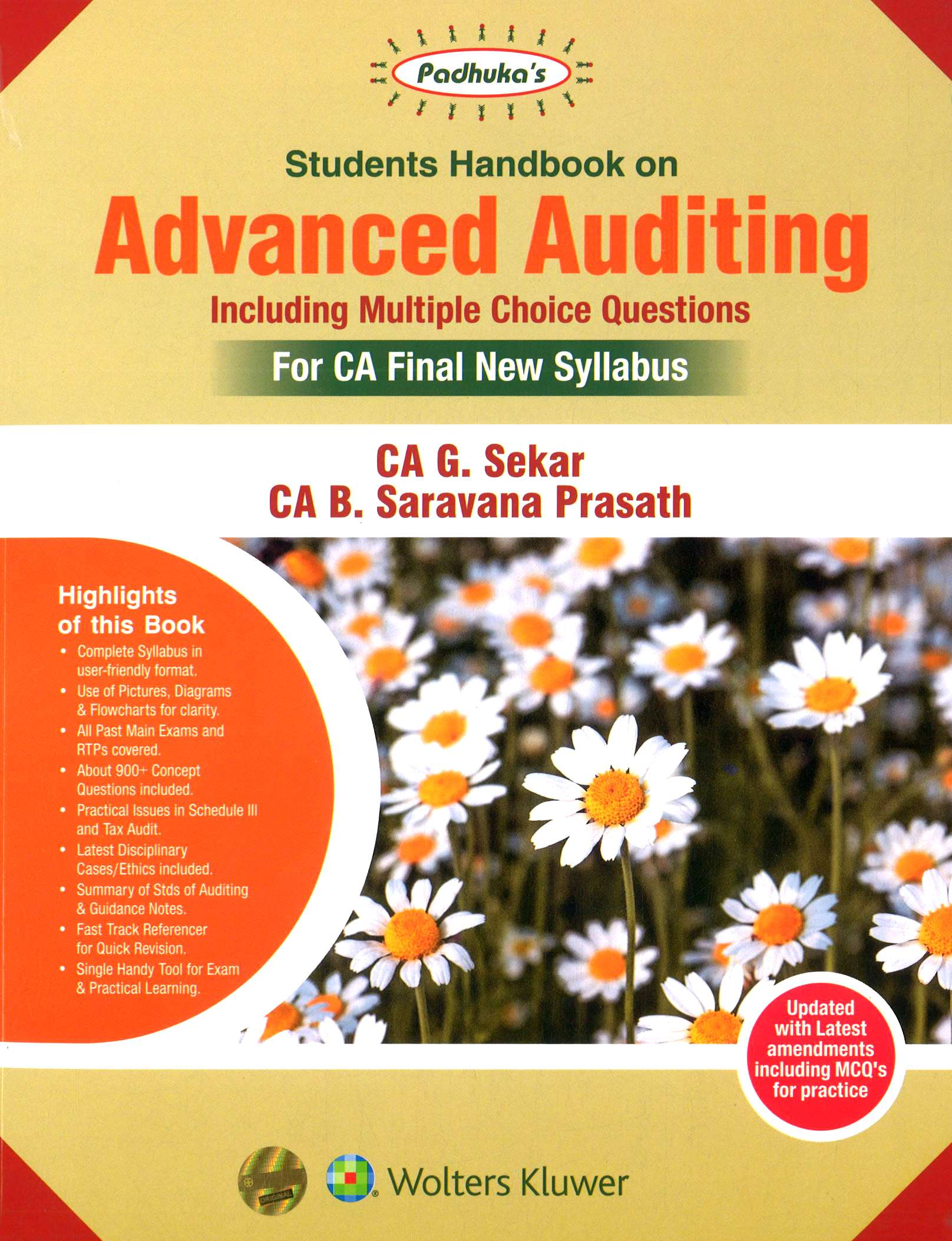 Padhuka's Student Handbook on Advanced Auditing CA Final (old Syllabus) for May 2020 exam by CA G. Sekar and CA B. Saravana Prasath (Wolters Kluwer Publishing)