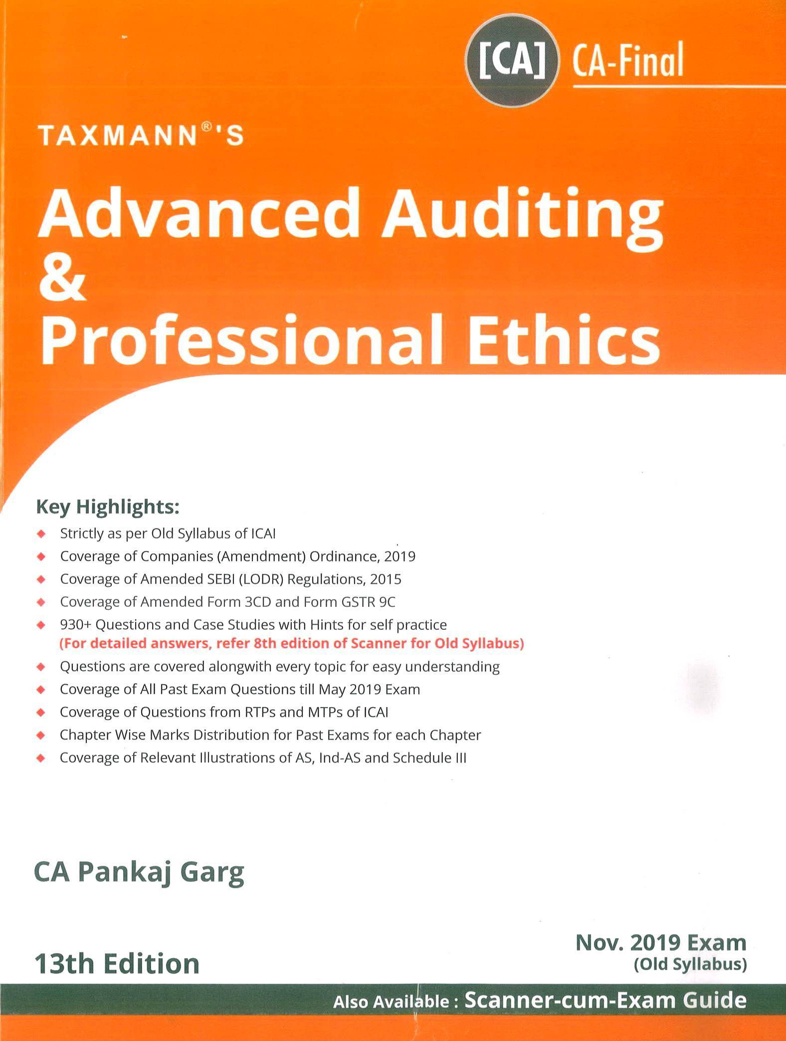 Taxmann CA Final Advanced Auditing & Professional Ethics Old Syllabus By Pankaj Garg Applicable for November 2019 Exam
