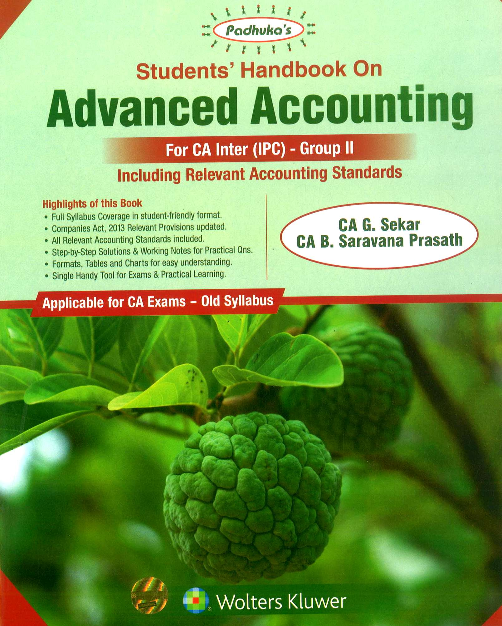 CCH Padhuka Advance Accounting Old Syllabus for CA IPCC Group II By G Sekar and B Sarvana Prasath 10th Dec Edition 2018 Applicable for May 2019 Exam