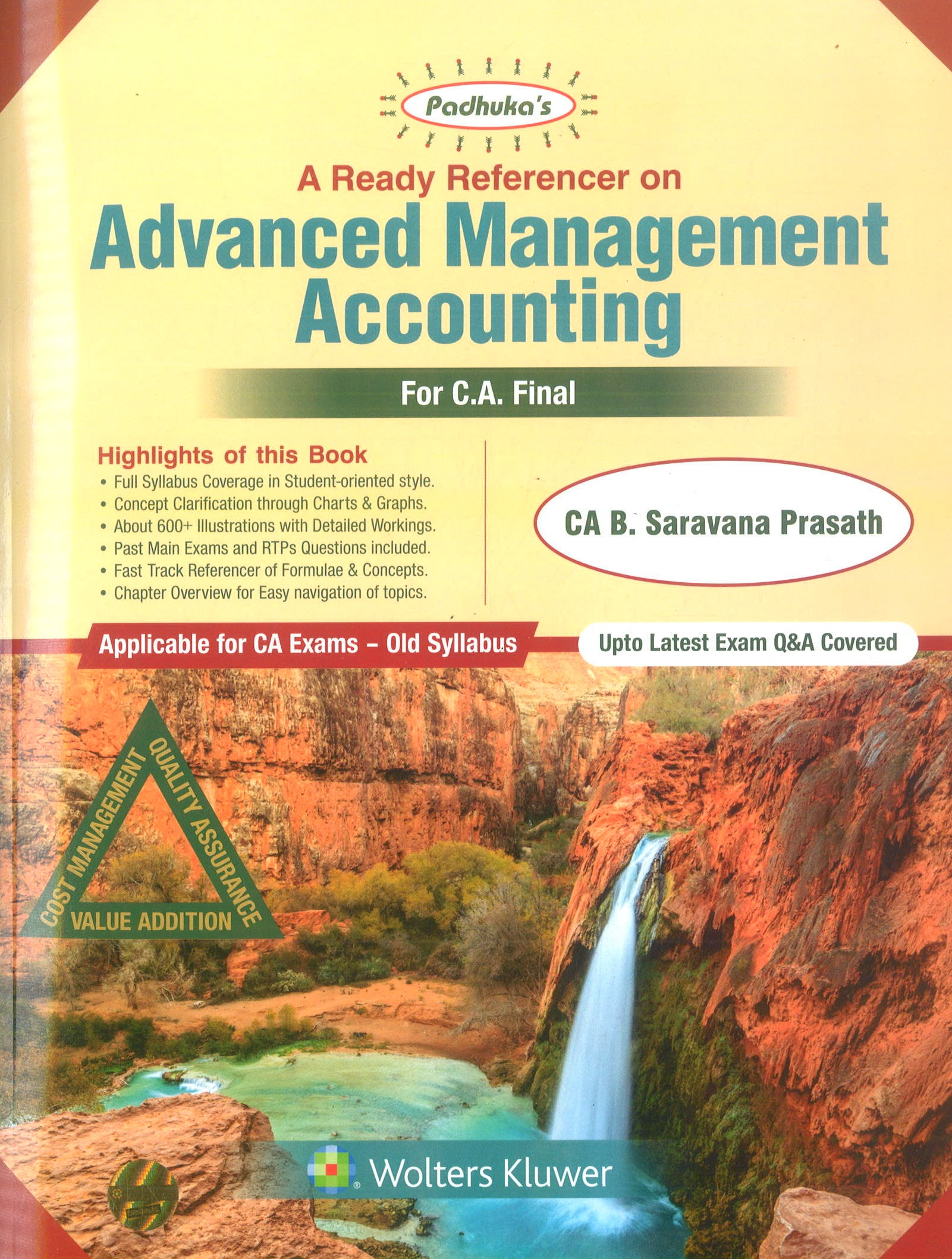 Padhuka A Ready Referencer on Advanced Management Accounting for CA Final May 2019 exam by CA B. Saravana Prasath (Wolters Kluwer Publishing) Edition Dec 2018