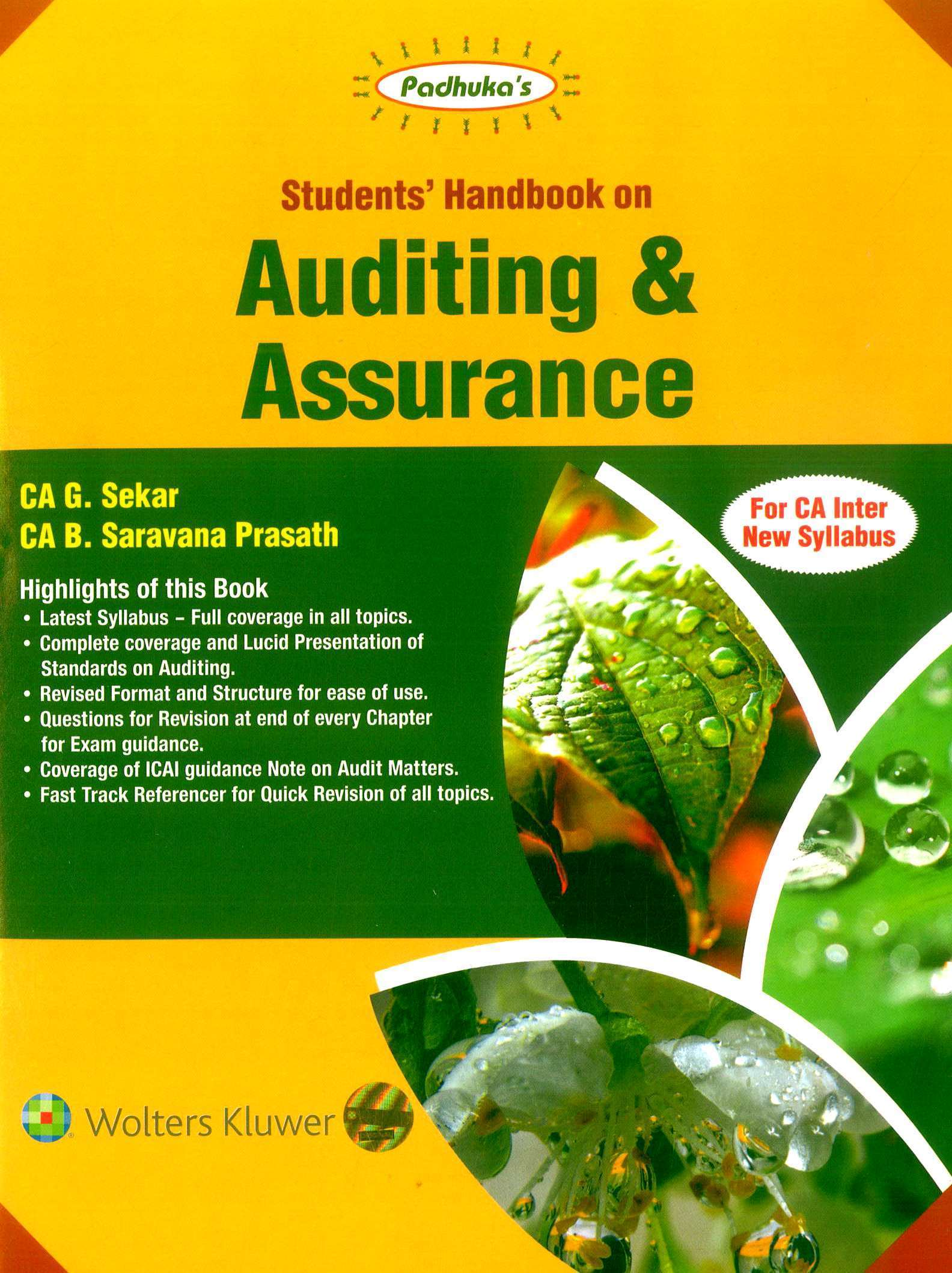 CCH Padhuka Students Handbook On Auditing And Assurance CA Inter New Syllabus By G Sekar and B Sarvana Prasath Applicable for November 2019 Exam