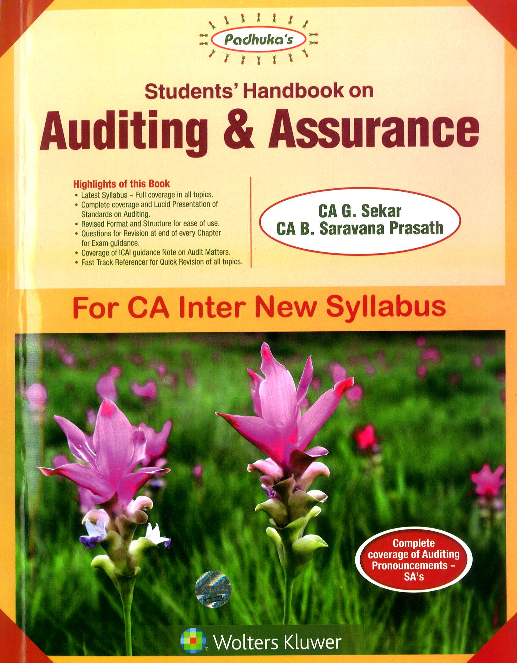 Padhuka's Students Handbook on Auditing & Assurance for CA Inter New Syllabus by G Sekar and Saravana Prasath Applicable for Nov 2018 Exams
