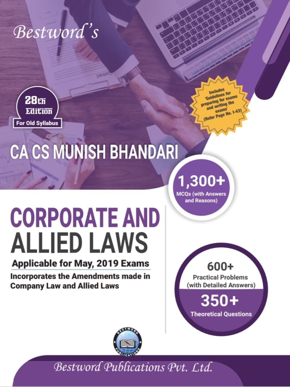 Bestword's Corporate and Allied Laws for CA Final for May 2019 exam by CA Munish Bhandari (Bestword's Publishing) Edition 28th, 2019
