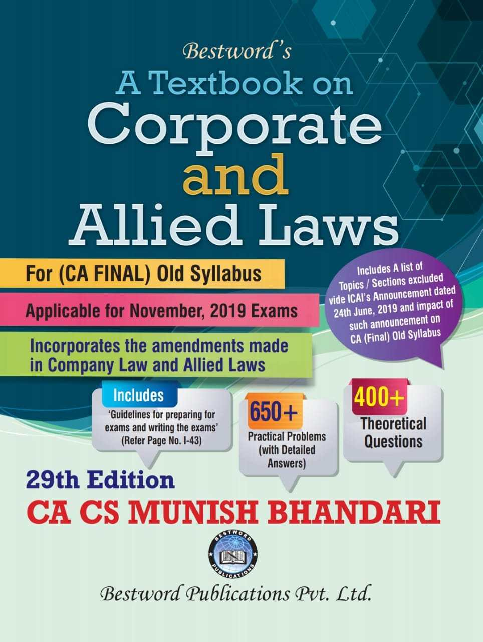 Bestword's Corporate and Allied Laws for CA Final for Nov 2019 exam by CA Munish Bhandari (Bestword's Publishing)
