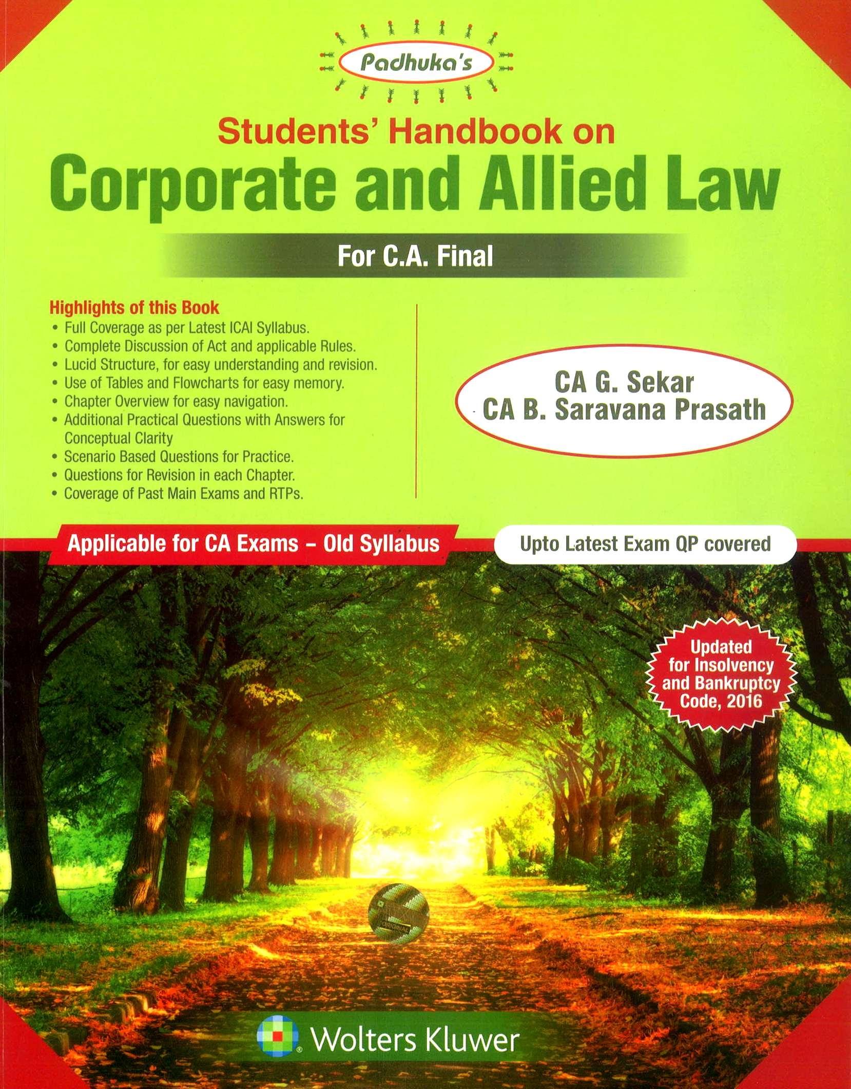 Padhuka's Students'Handbook on Corporate and Allied Law CA Final for May 2019 exam by CA G. Sekar and CA B. Saravana Prasath (Wolters Kluwer Publishing) 10th Dec Edition 2018