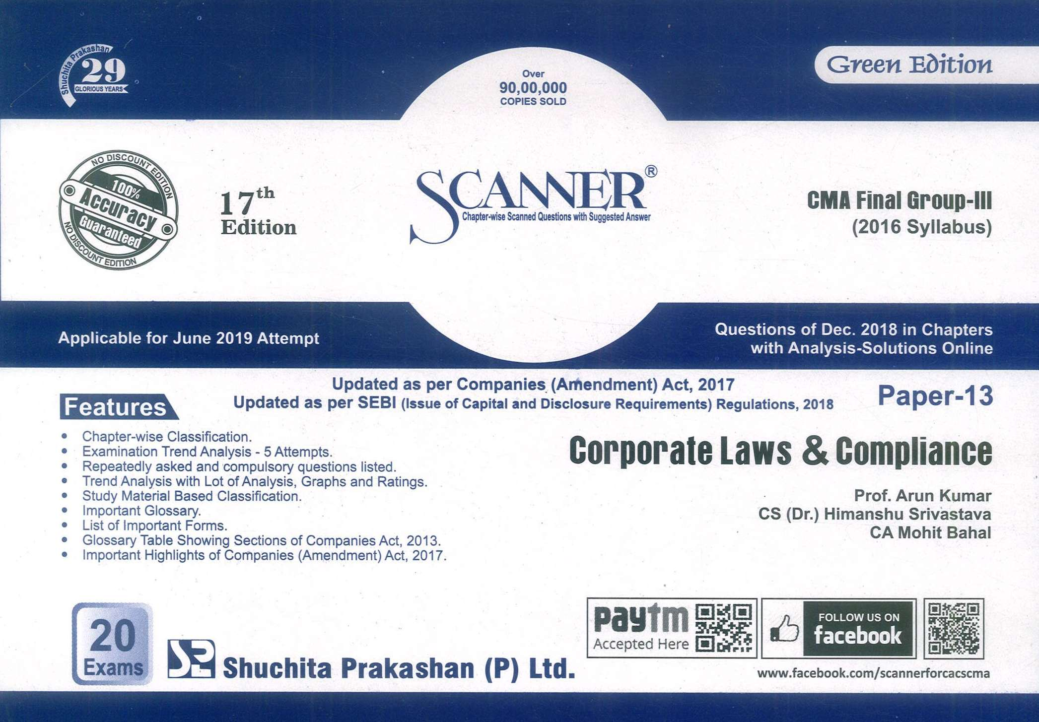 Shuchita Solved Scanner Corporate Law & Compliance for CMA Final Group III Paper 13 New Syllabus for June 2019 Exam by Prof. Arun Kumar and CS CA Rajiv Singh (Shuchita Prakashan) 17 Edition 2019