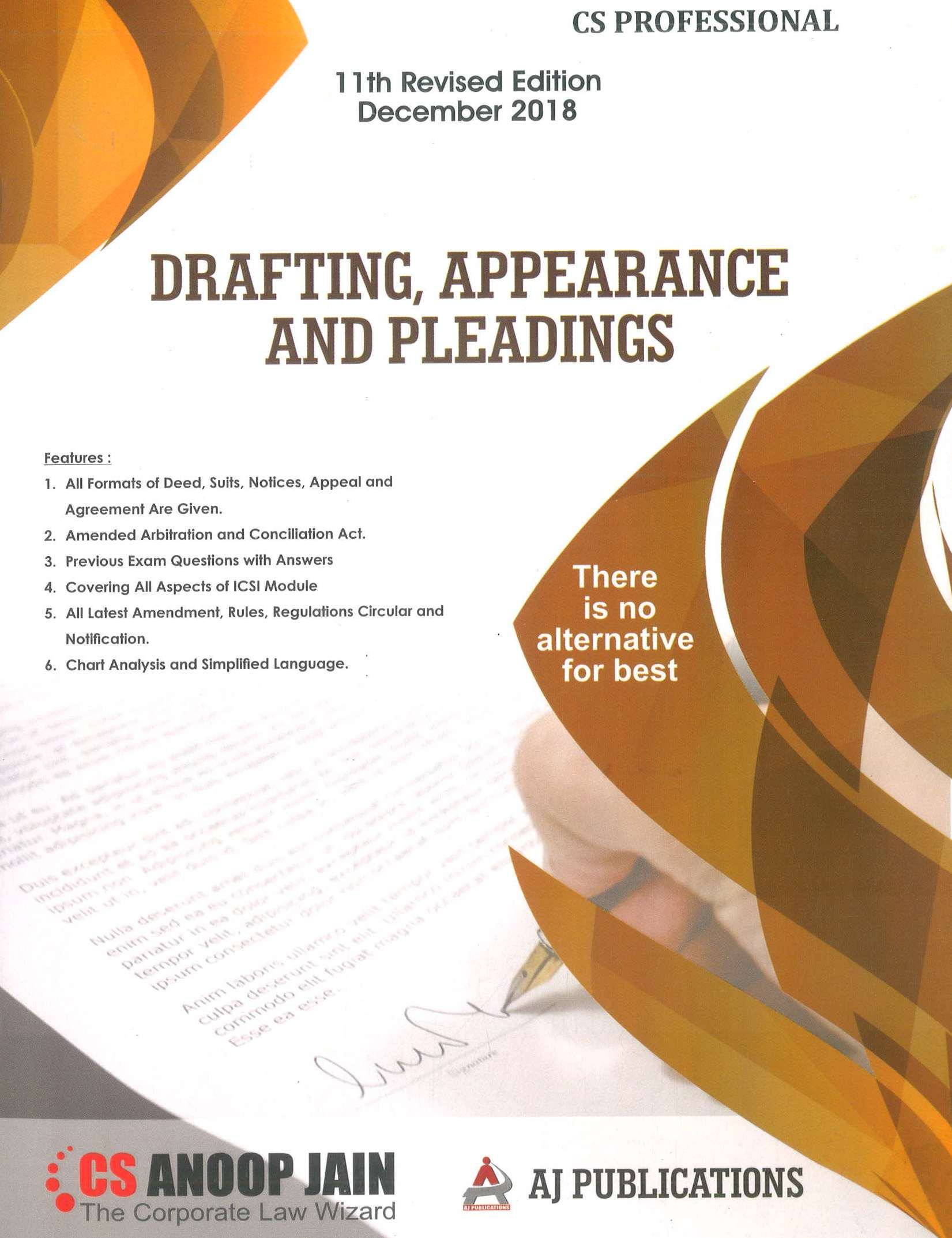 AJ Publication Drafting Appearance and Pleadings for Dec 2018 Exam for CS Professional by CS Anoop Jain (AJ Publishing)  11th Edition 2018