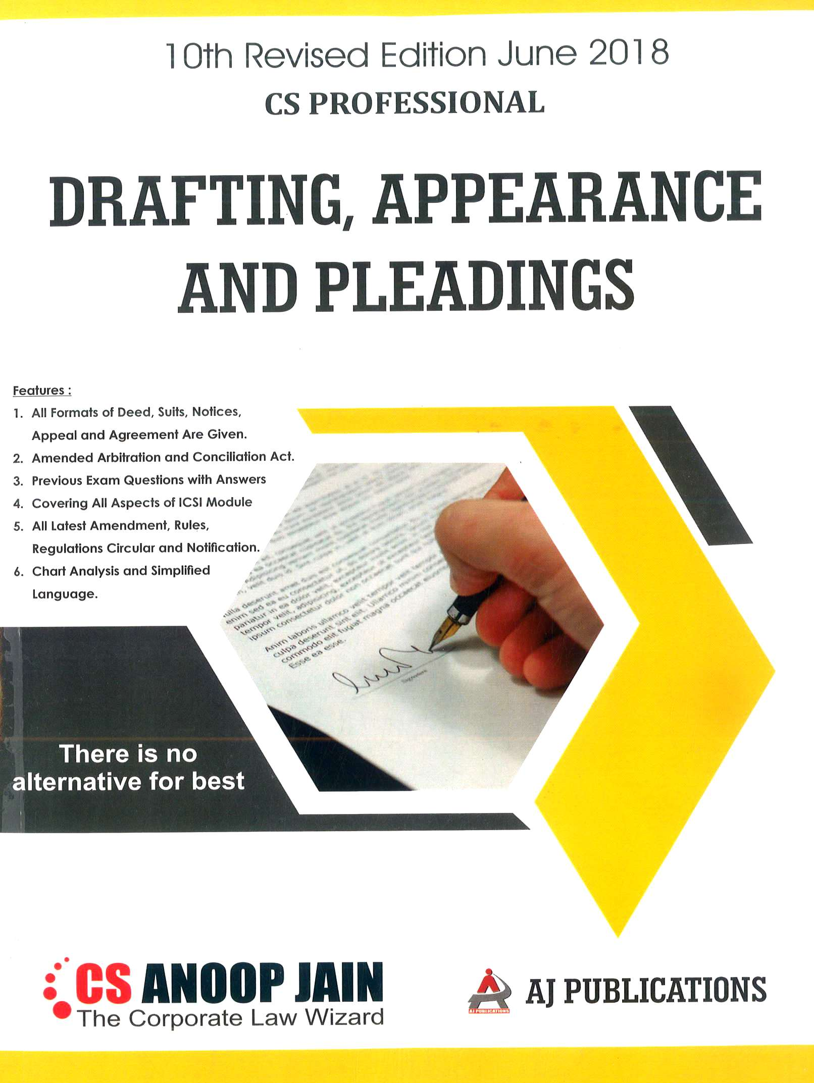 AJ Publication Drafting Appearance and Pleadings for June 2018 Exam for CS Professional by CS Anoop Jain (AJ Publishing)  10th Edition 2018