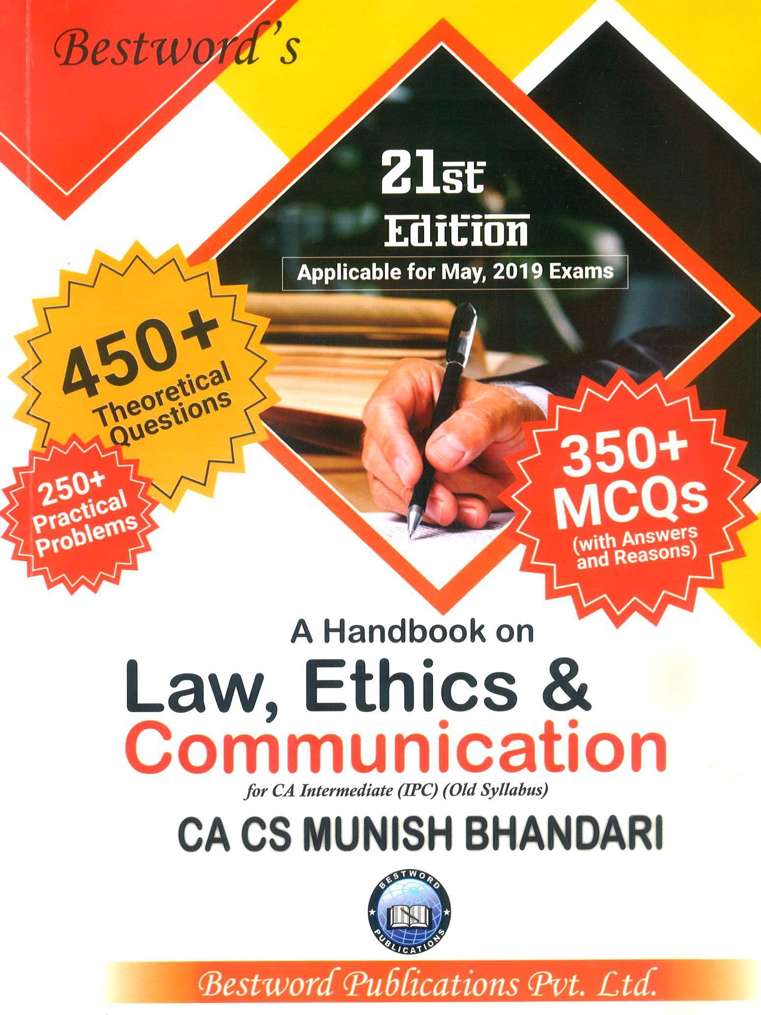 Bestword's A Handbook on Law, Ethics & Communication for CA-Intermediate (IPC) old syllabus , May 2019 Exam by CA Munish Bhandari (Bestword's  Publishing) Edition 2019