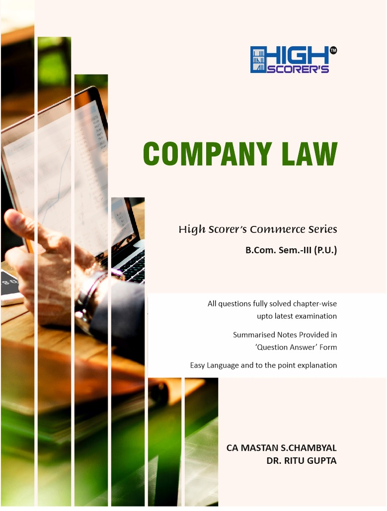 High Scorer's Company Law for B.Com. Semester-III by CA Mastan Singh Chambyal and Dr. Ritu Gupta (Mohindra Publishing House) Edition 2020 Punjab University