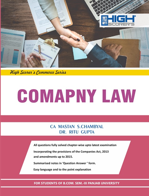 High Scorer's Company Law for B.Com. Semester-III by CA Mastan Singh Chambyal and Dr. Ritu Gupta (Mohindra Publishing House) Edition 2018 Punjab University