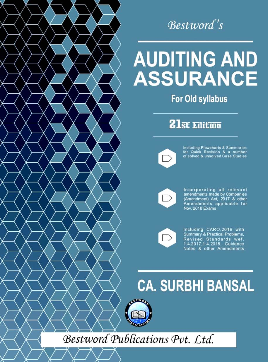 Bestword Auditing and Assurance for CA IPCC by CA Surbhi bansal 2Ist edition for November 2018 Exam (old syllabus)