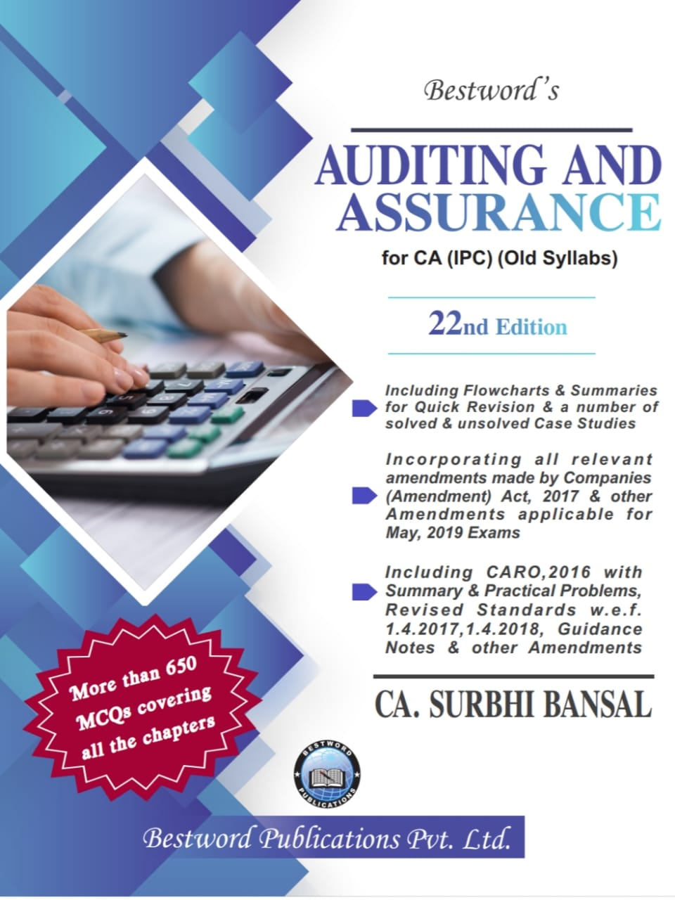Bestword Auditing and Assurance for CA IPCC by CA Surbhi bansal 22nd Edition for May  2019 Exam (old syllabus)