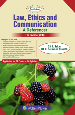 Padhuka's Law, Ethics and Communication A Reference for CA Inter (IPC) by CA G. Sekar and CA B. Saravana Prasath (Wolters Kluwer Publication) Edition Dec 2018 for May 2019 Exam