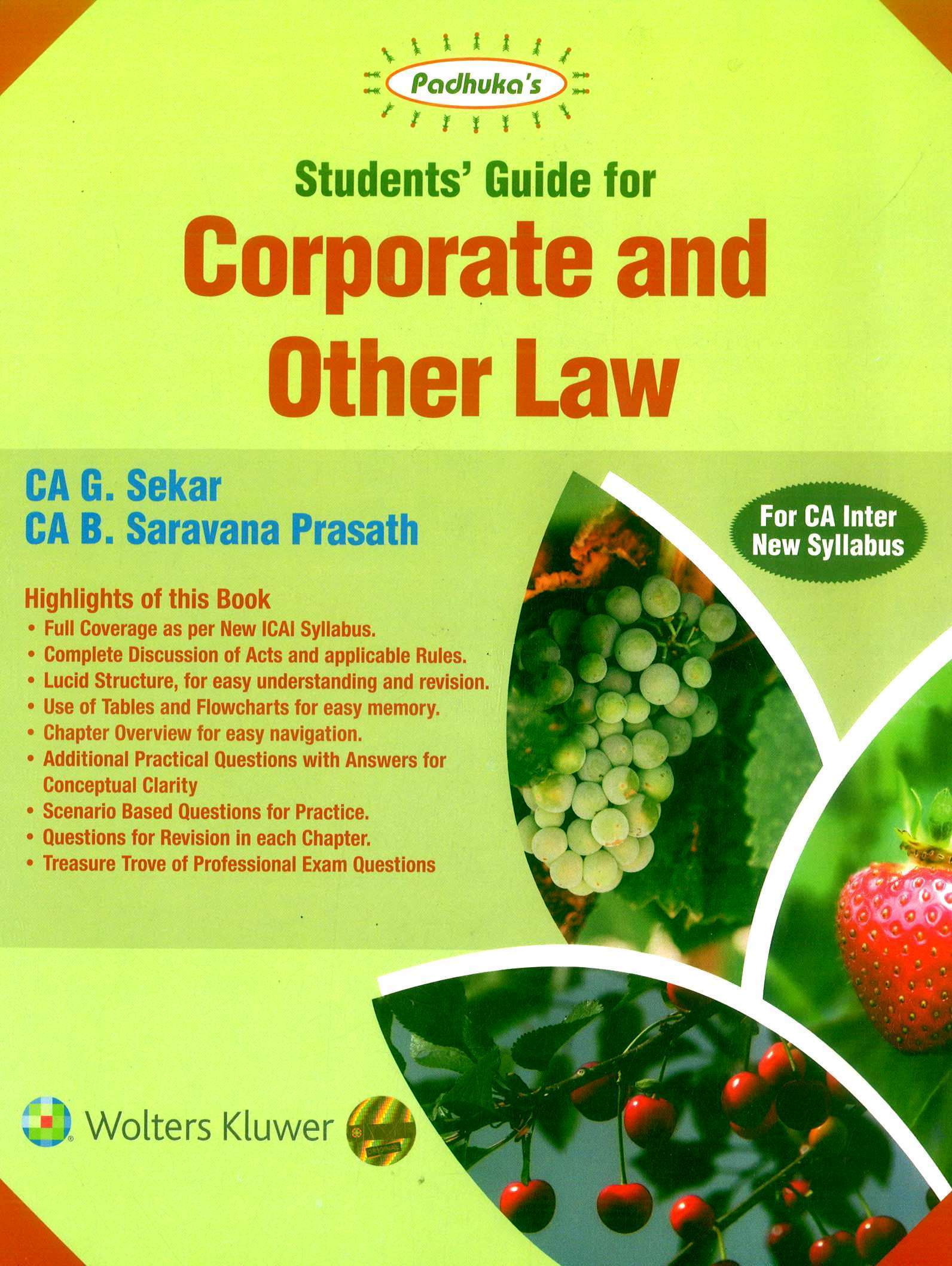 CCH Padhuka Students Guide for Corporate and Other Law CA Inter (New Syllabus) By G Sekar , B Saravana Prasath Applicable for November 2019 Exam