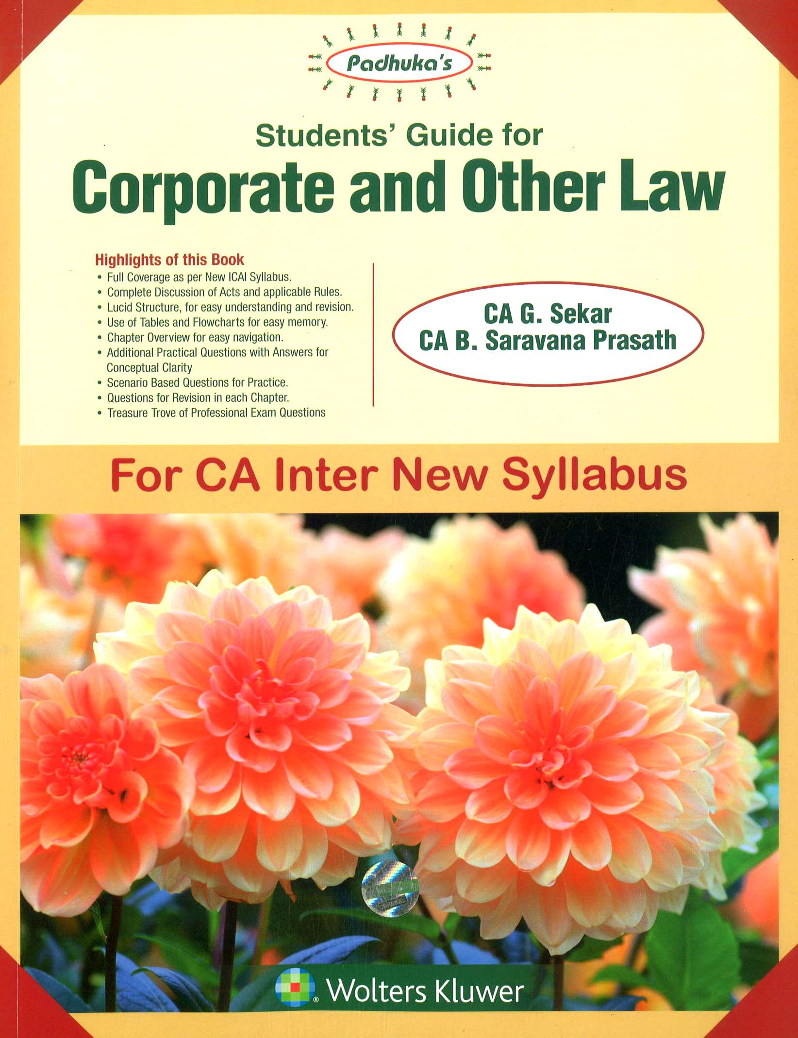 Students' Guide for Corporate and Other Law for CA- Inter (IPCC) By Ca B Saravana Prasath Ca G Sekar New Syllabus Applicable for Nov 2018 Exam