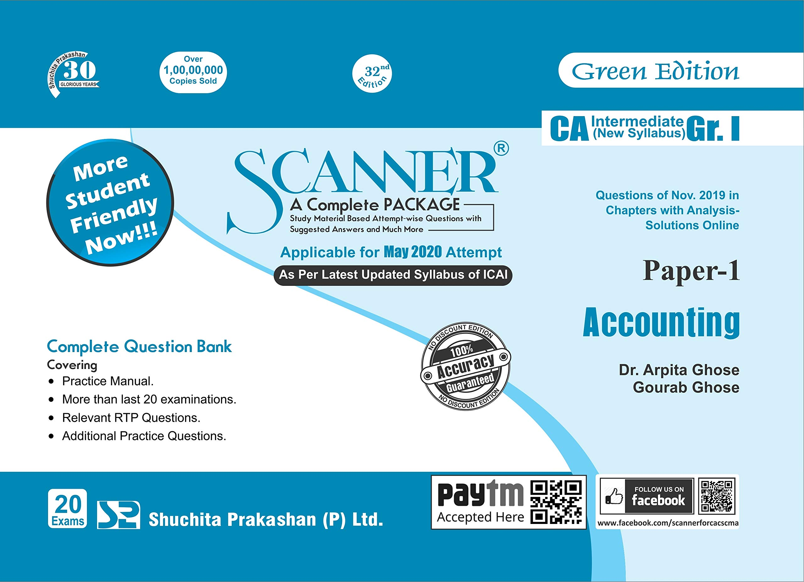 Shuchita Prakashan Solved Scanner CA Inter Group I (New Syllabus) Paper-1 Accounting By Dr.Arpita Ghose and Gourab Ghose Applicable for May 2020 Exam