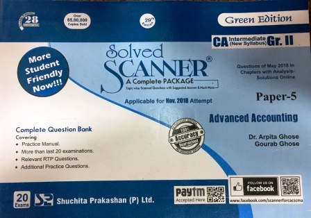 Shuchita Solved Scanner CA Inter Group-I (New Syllabus) Paper-3 Cost and Management Accounting (Applicable for Nov 2018)  By Dr.Arpita Ghose and Gourab Ghose July 2018 Edition