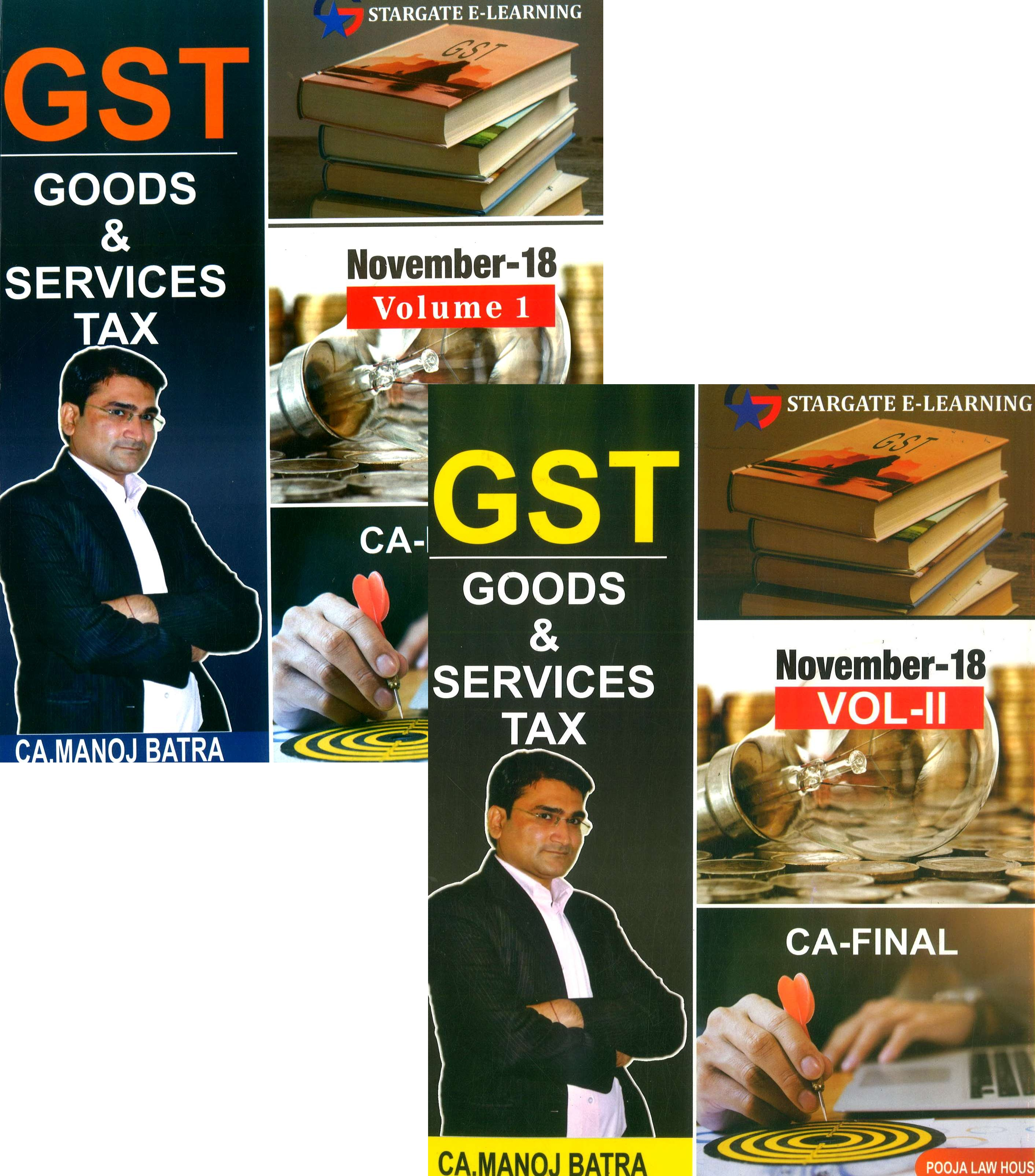 Pooja Law House GST (Goods & Services Tax) Vol-I & II for CA Final By CA Manoj Batra Applicable for November 2018 Exam