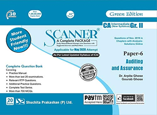 Shuchita Prakashan Solved Scanner CA Inter Group II (New Syllabus) Paper-6 Auditing and Assurance By Arpita Ghose and Gourab Ghose Applicable for May 2020 Exam