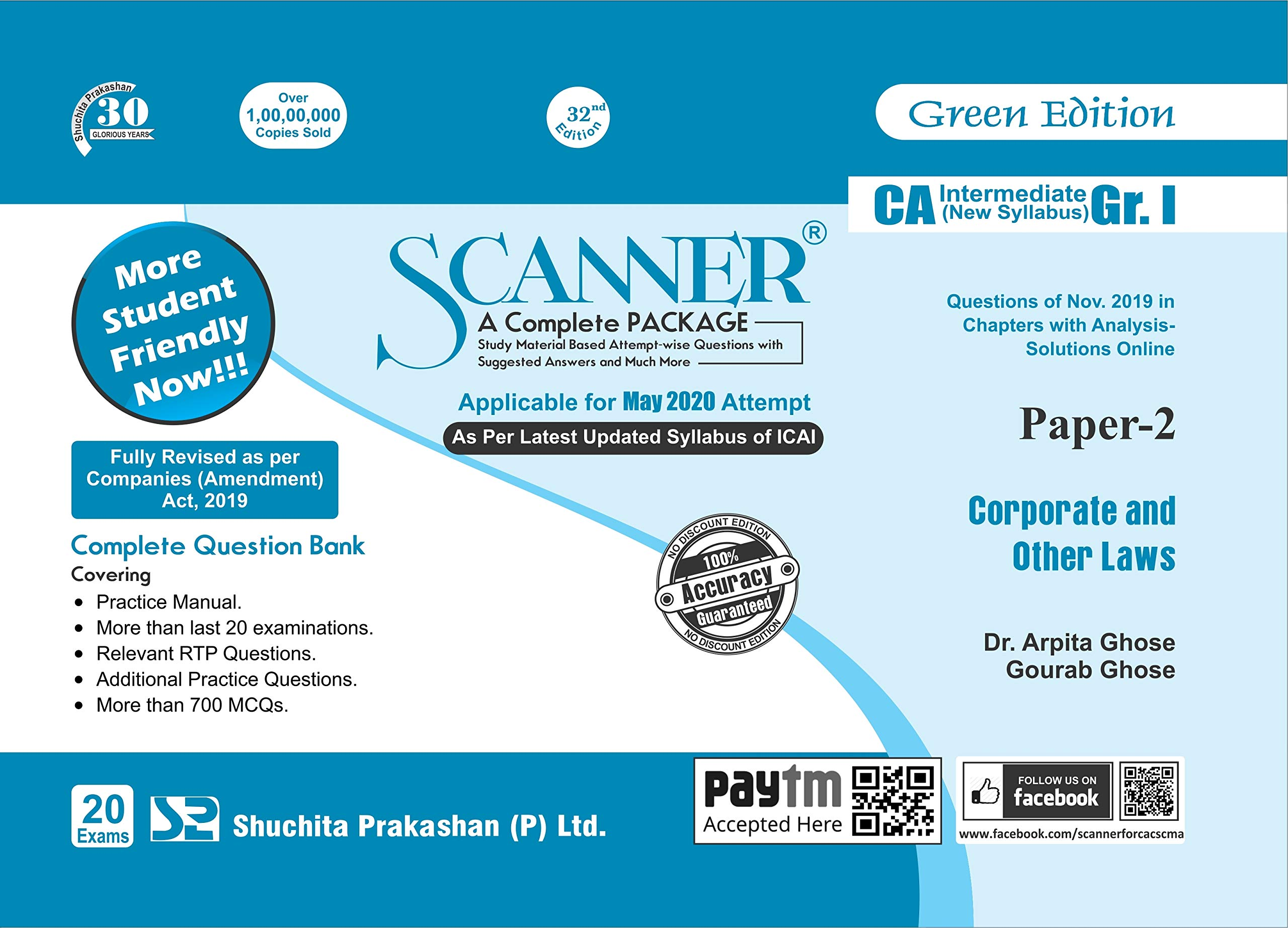 Shuchita Prakashan Solved Scanner CA Inter Group I (New Syllabus) Paper-2 Corporate and Other Laws By Dr.Arpita Ghose and Gourab Ghose Applicable for May 2020 Exam