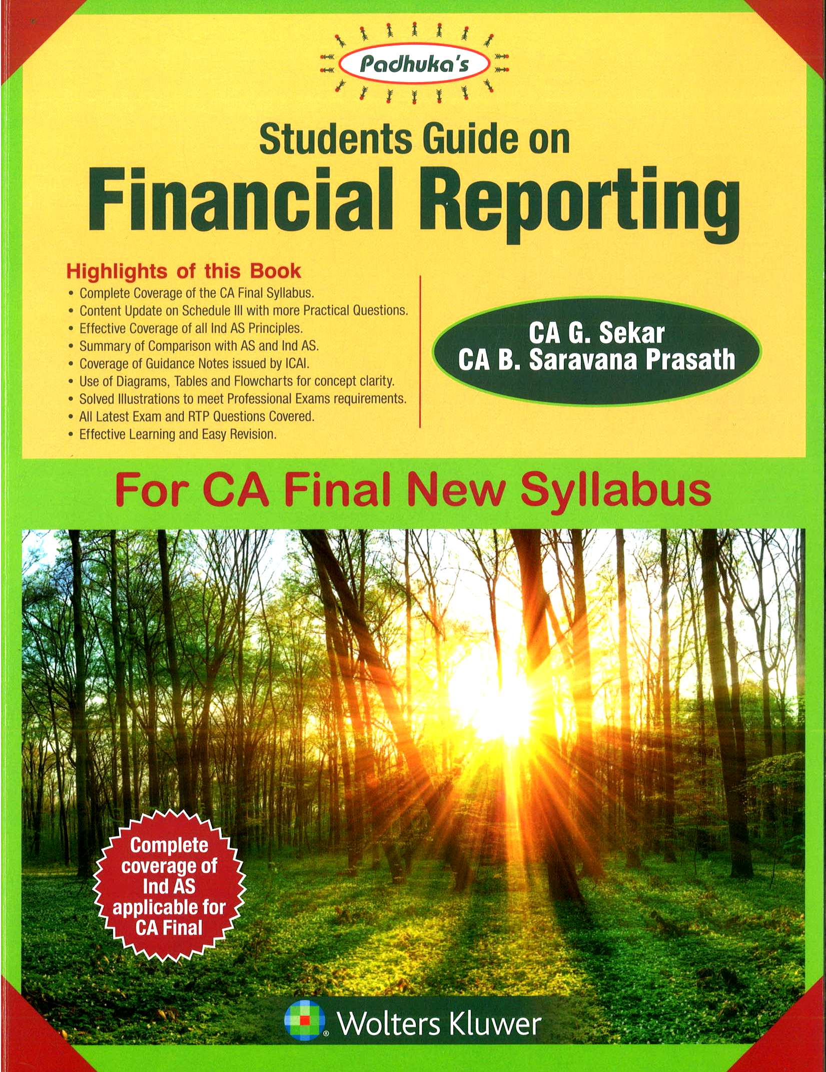 CCH Padhuka Students Guide on Financial Reporting For CA Final New Syllabus by G Sekar , B Sarvana Prasath Applicable for May 2018 Exam