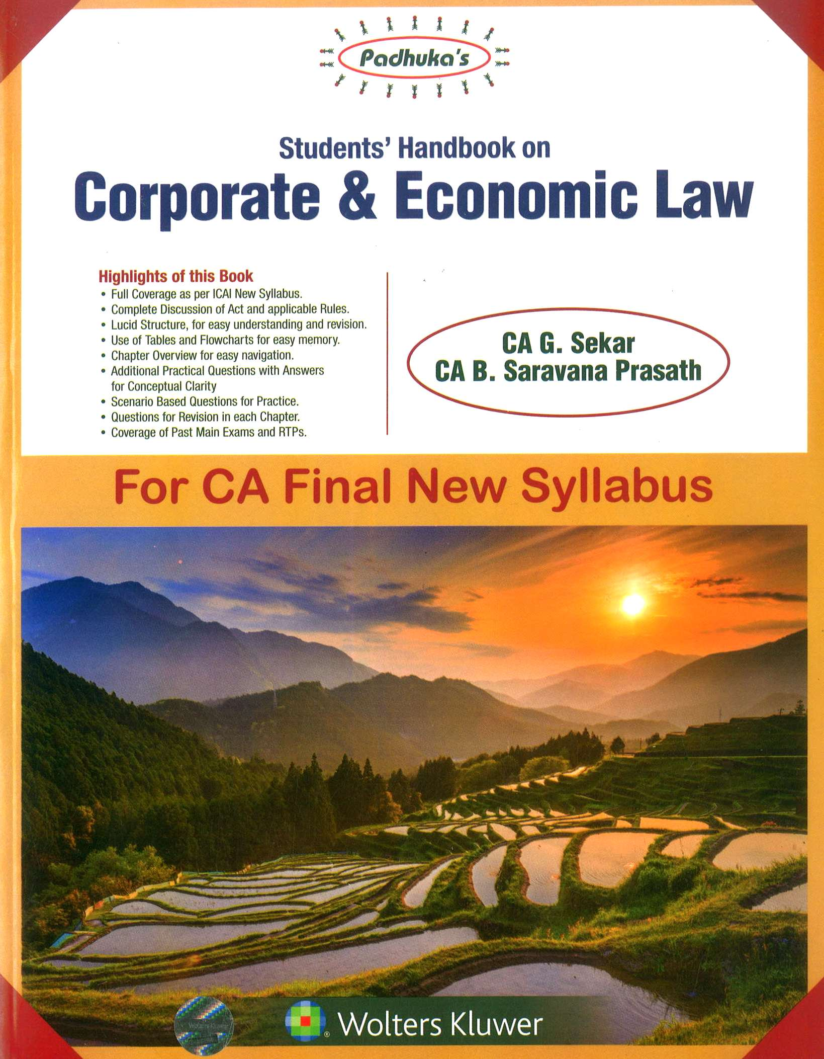 CCH Padhuka's Students' Handbook on Corporate & Economic Law For CA Final New Syllabus by CA G. Sekar CA B. Saravana Prasath Applicable for Nov 2018 Exam