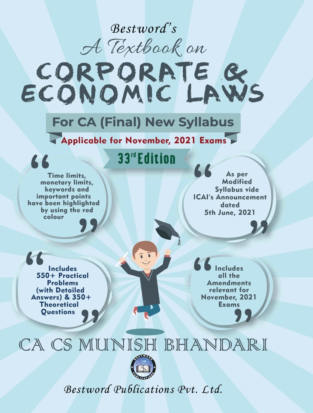 Bestword A Textbook on Corporate And Economic Laws New Syllabus for CA Final By Munish Bhandari Applicable for 2021 Exam