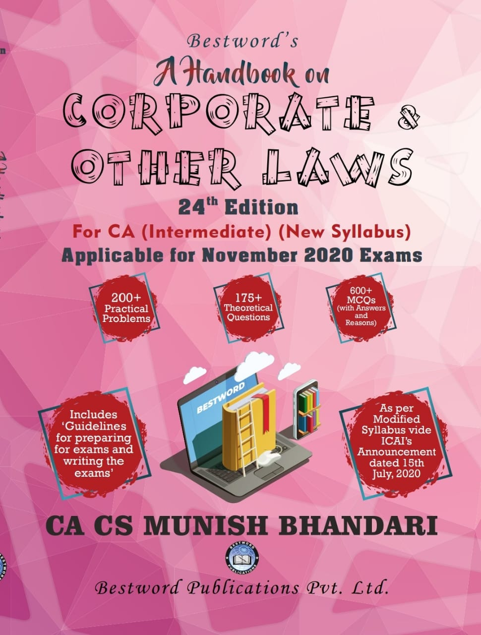 Bestword's A Handbook on Corporate and other Laws for CA Inter (IPCC) By Munish Bhandari Applicable for nov 2020