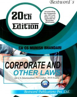 Bestword's A Handbook on Corporate and other Laws for CA Inter (IPCC) By Munish Bhandari Applicable for Noevember 2018 Exam