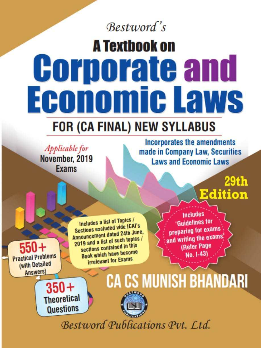 Bestword Corporate And Economic Laws New Syllabus for CA Final By Munish Bhandari 28th edition 2019 Applicable for Nov 2019 Exam