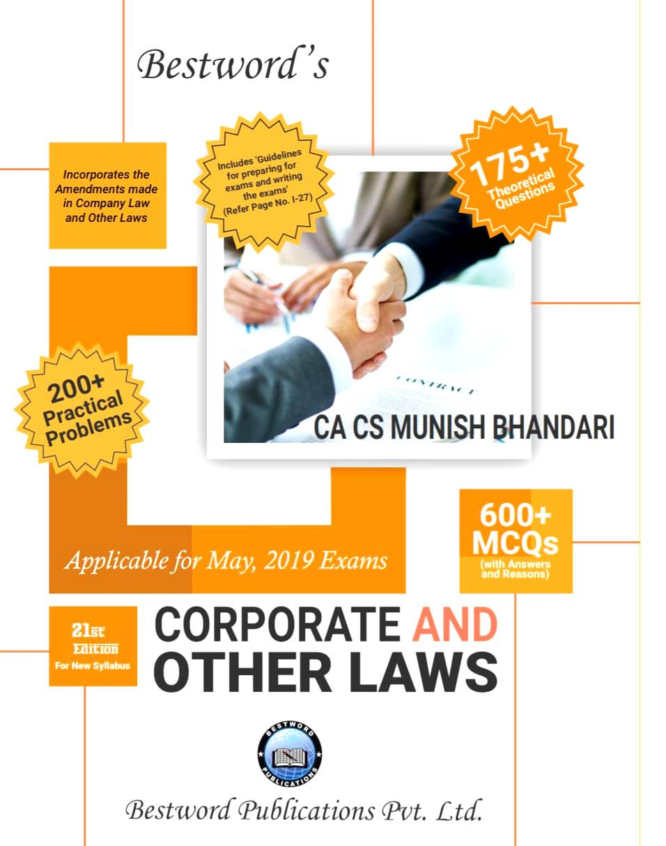 Bestword's A Handbook on Corporate and other Laws for CA Inter (IPCC) By Munish Bhandari Applicable for May 2019 Exam