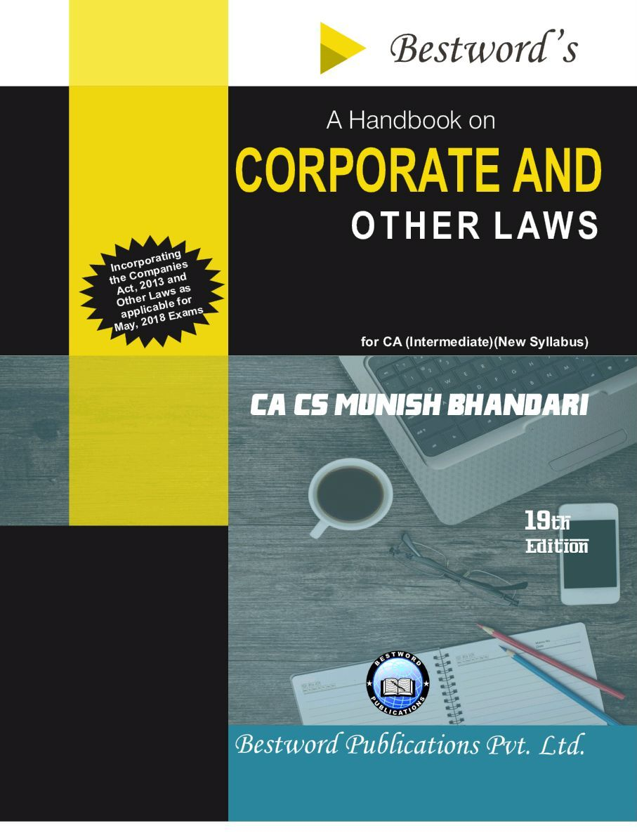 Bestword's A Handbook on Corporate and other Laws for CA Inter (IPCC) By Munish Bhandari Applicable for May 2018 Exam