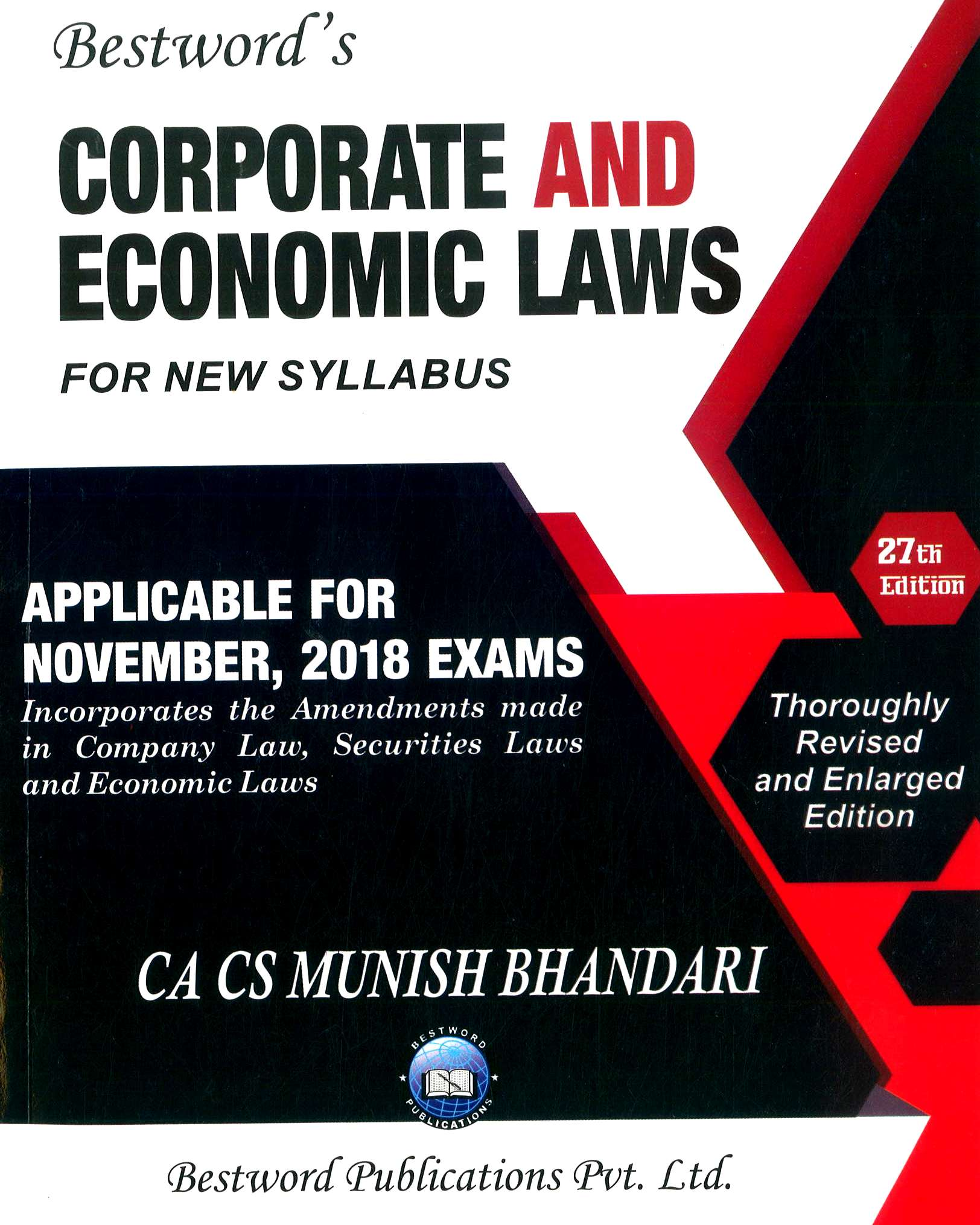 Bestword Corporate And Economic Laws New Syllabus for CA Final By Munish Bhandari 27th edition 2018 Applicable for Nov 2018 Exam