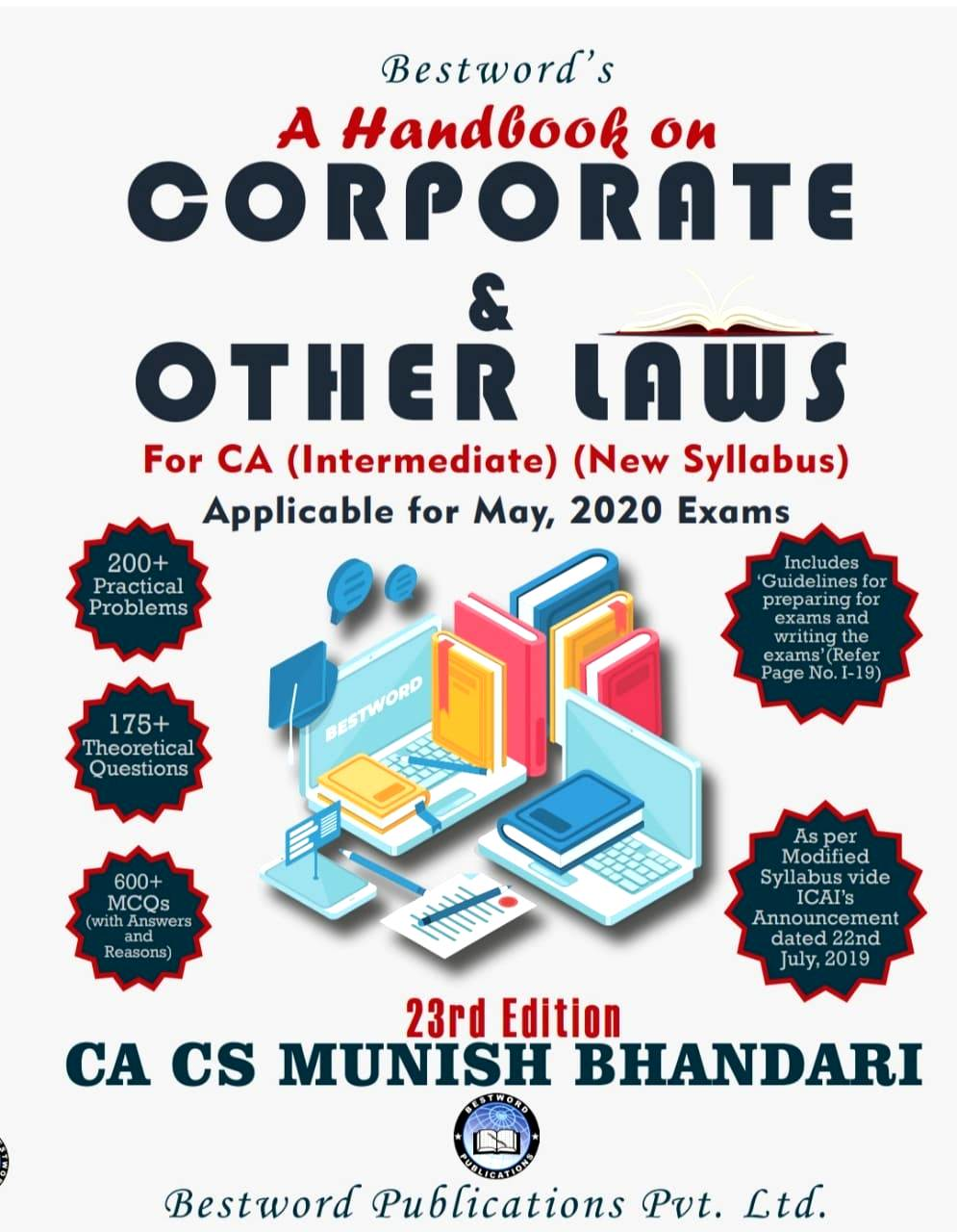 Bestword's A Handbook on Corporate and other Laws for CA Inter (IPCC) By Munish Bhandari Applicable for May 2020 Exam