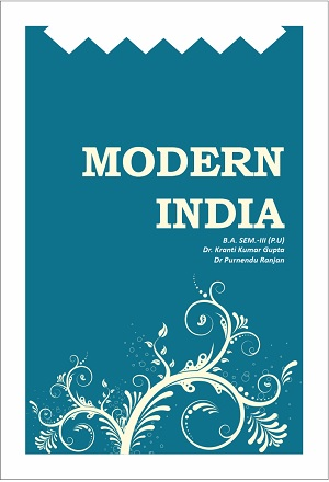 MODERN INDIA (ENG) for B.A Sem.- III Dr. Purnendu ranjan and Dr. K.K. Gupta (Mohindra Publishing House) Edition 2018 for Panjab University