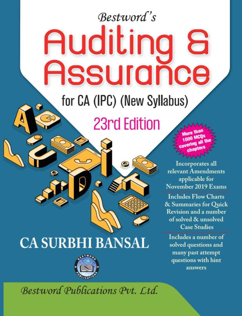 Bestword Auditing and Assurance for CA Intermediate (New Syllabus) by CA Surbhi bansal  for Nov 2019 Exam