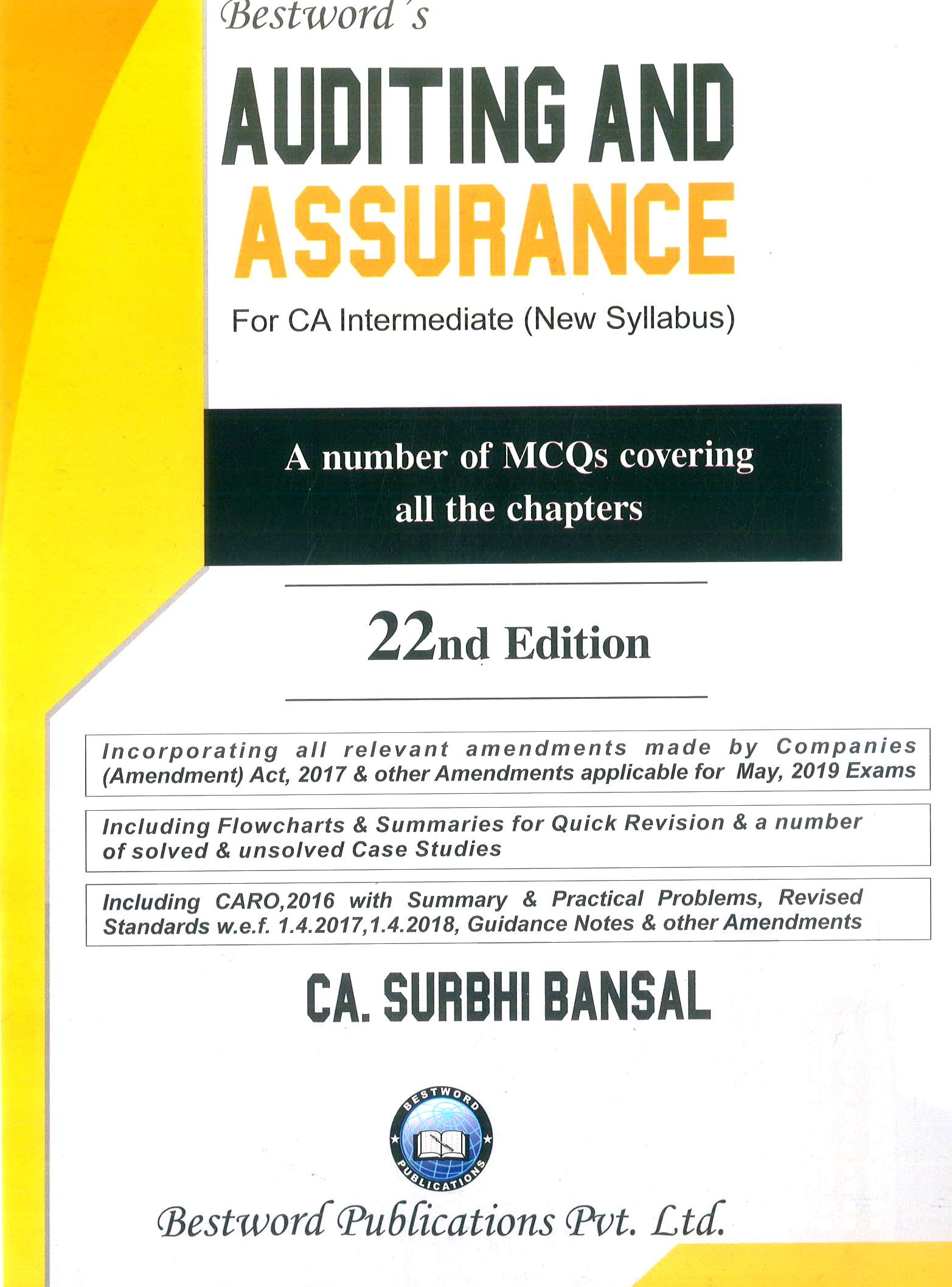 Bestword Auditing and Assurance for CA Intermediate (New Syllabus) by CA Surbhi bansal Edition 2018 for May 2019 Exam