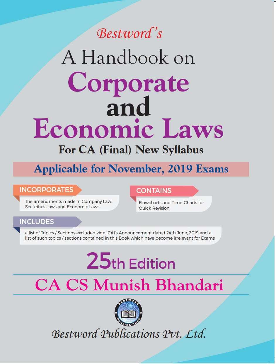 Bestword CA Final Handbook on Corporate and Economic Laws New Syllabus By Munish Bhandari Applicable for Nov 2019 Exam