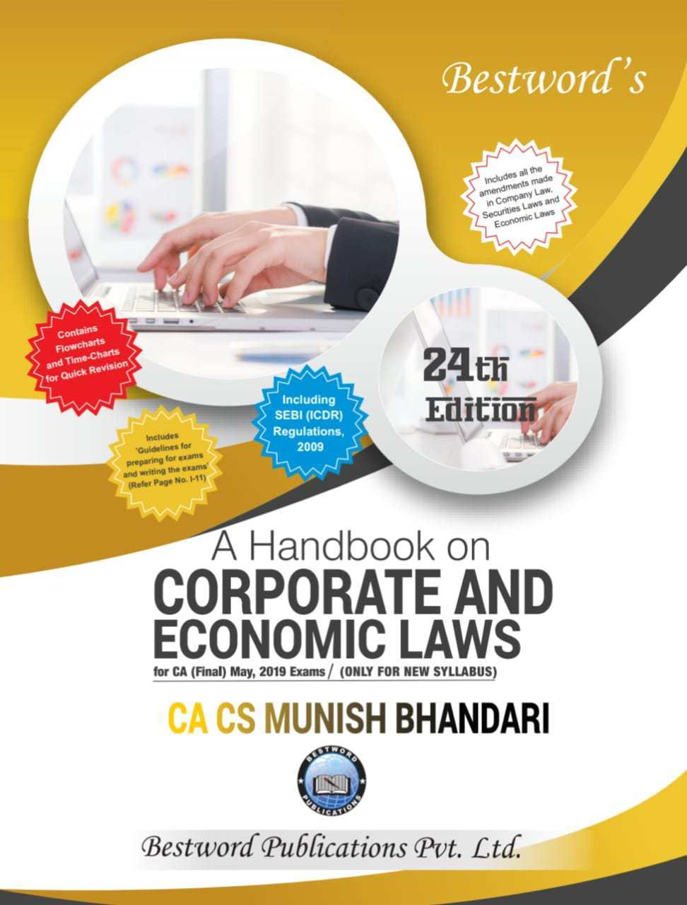 Bestword CA Final Handbook on Corporate and Economic Laws New Syllabus By Munish Bhandari Applicable for maY 2019 Exam