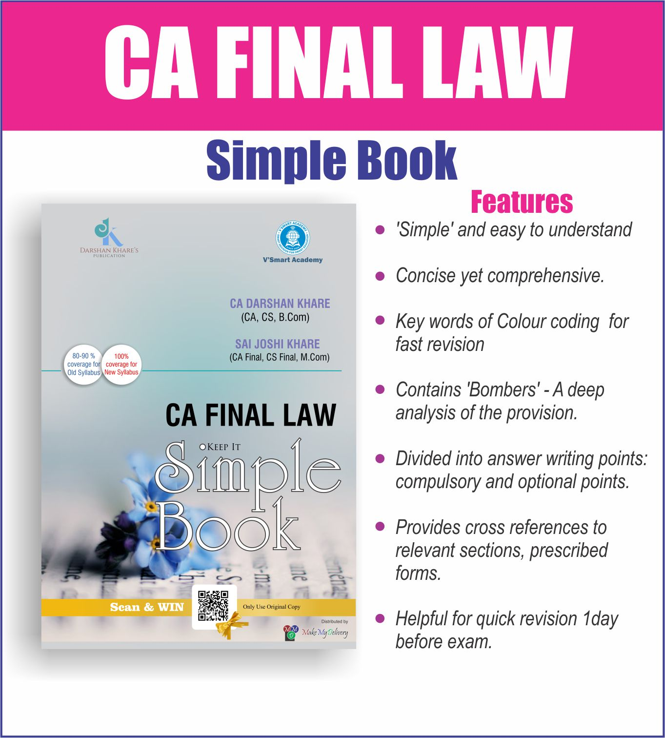 VSmart CA Final Law Simple Revision Book Old and New Syllabus By Darshan Khare Applicable For May 2019 Exam