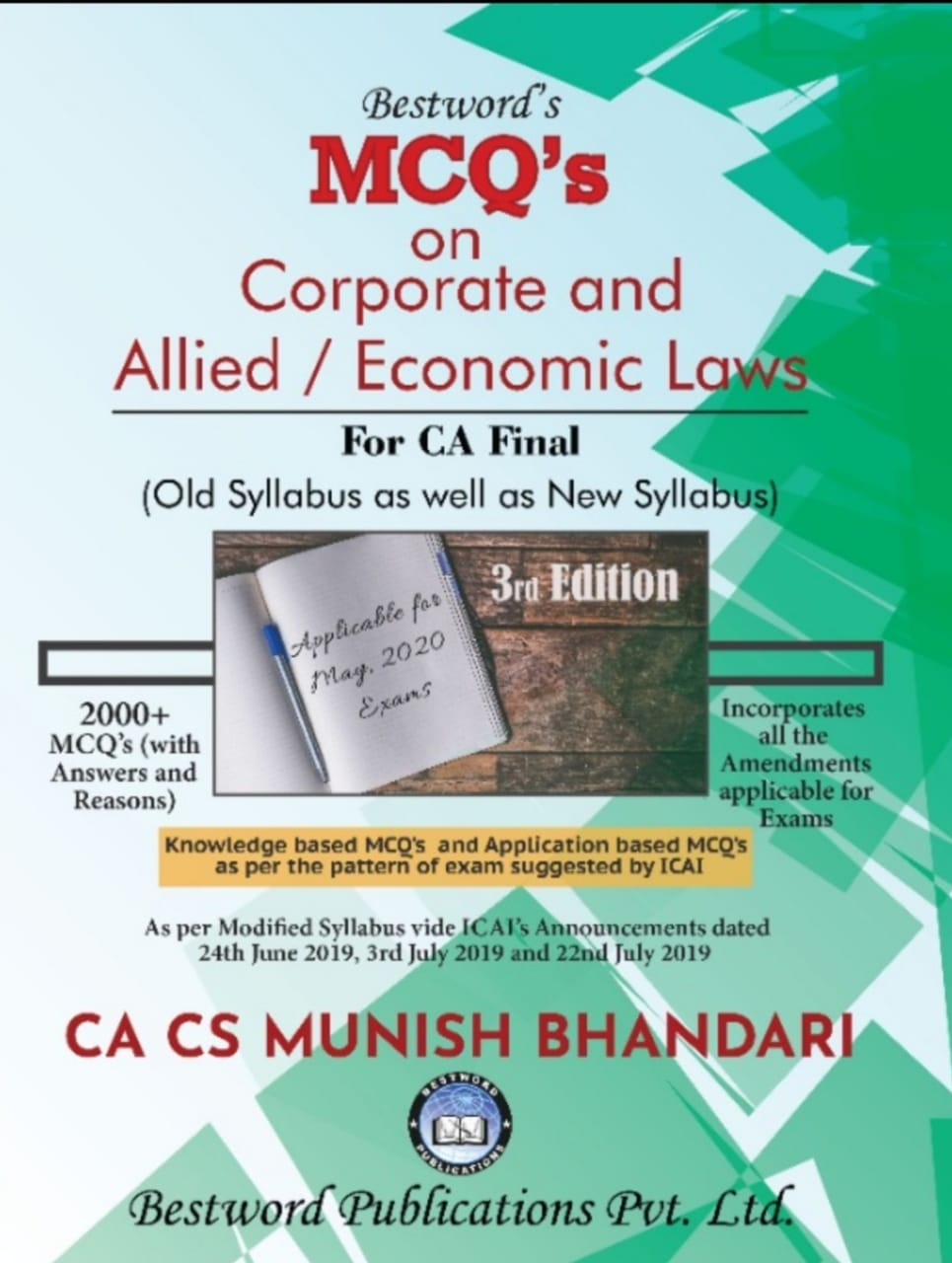 Bestword CA Final MCQs on Corporate and Allied Laws and Economic Laws Old and New Syllabus By Munish Bhandari Applicable for May 2020 Exam