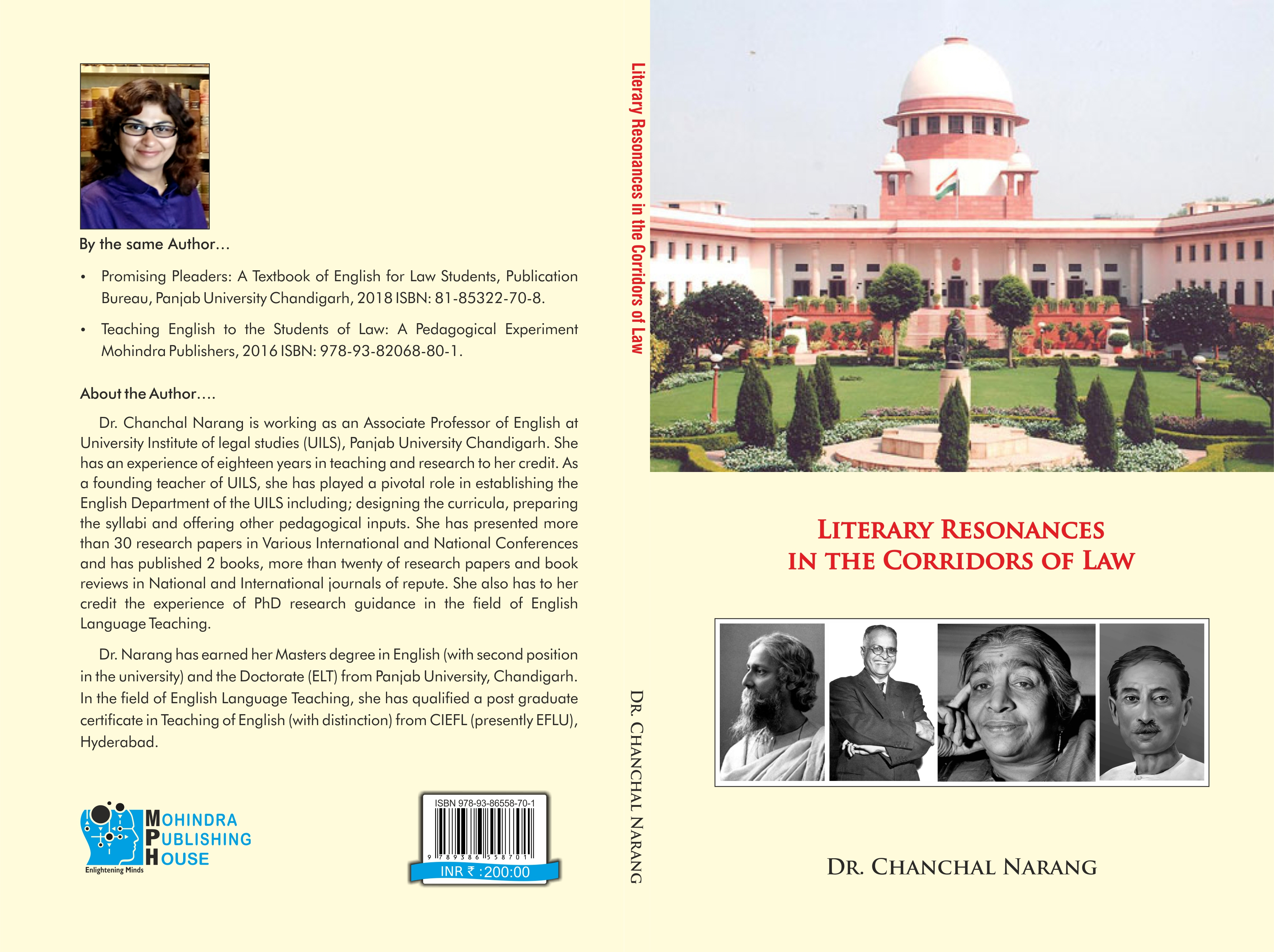 Literary resonances in the corridors of law by Dr Chanchal Narang published by mohindra publishing house