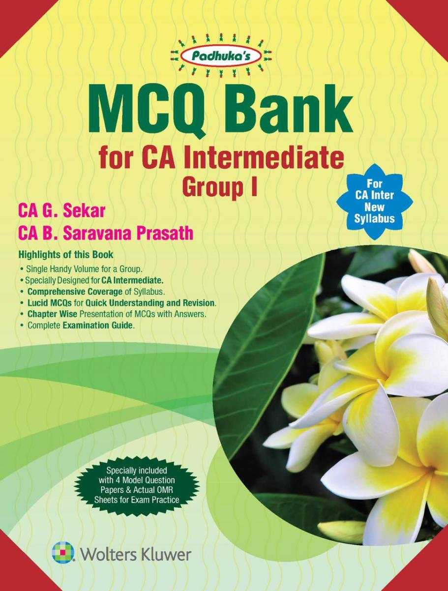 CCH MCQ Bank for CA Intermediate Group 1 Law + Taxation New Syllabus By G Sekar , B Saravana Prasath Applicable for May 2020 Exam