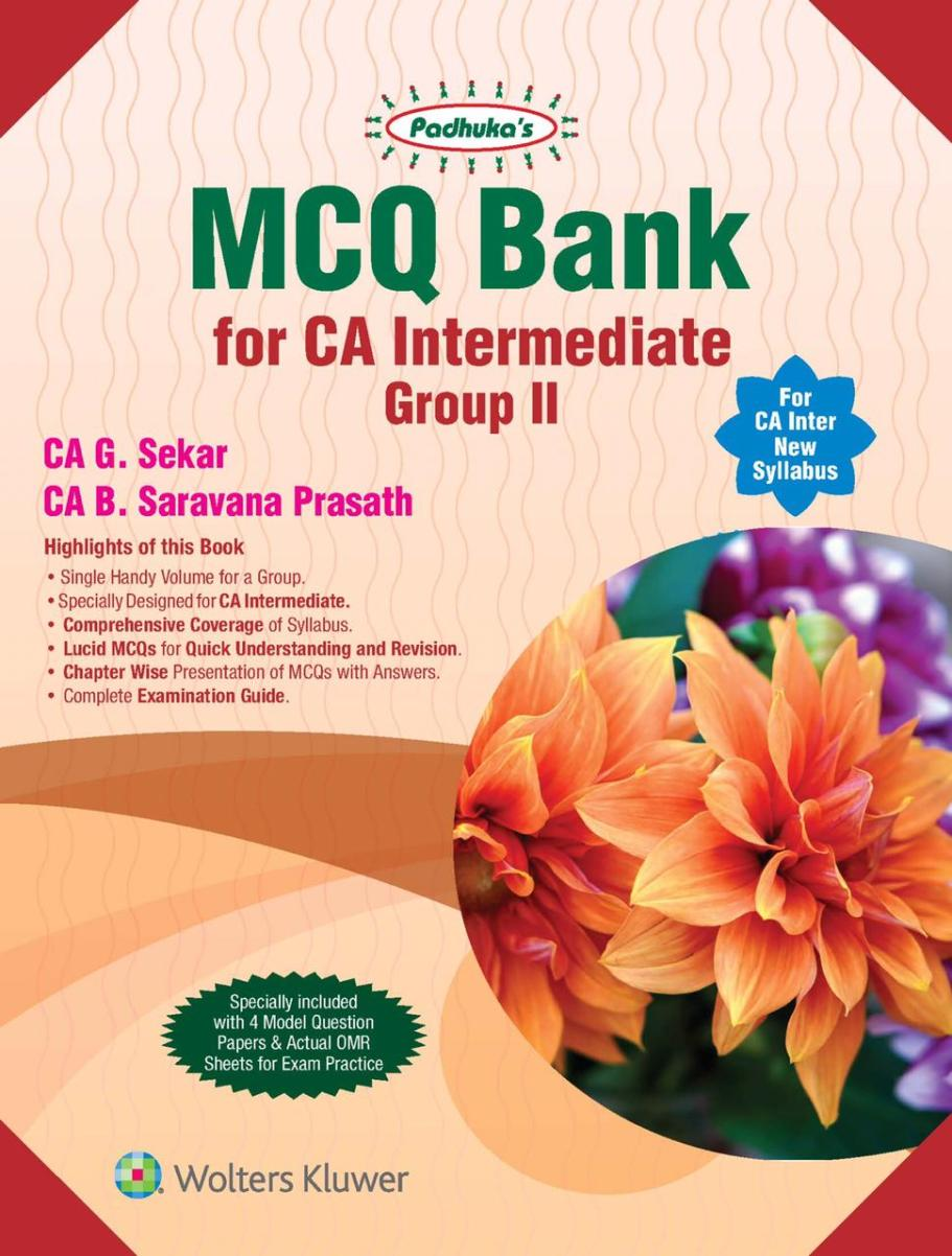 CCH MCQ Bank for CA Intermediate Group 2 Audit + EISSM New Syllabus By G Sekar , B Saravana Prasath Applicable for May 2020 Exam