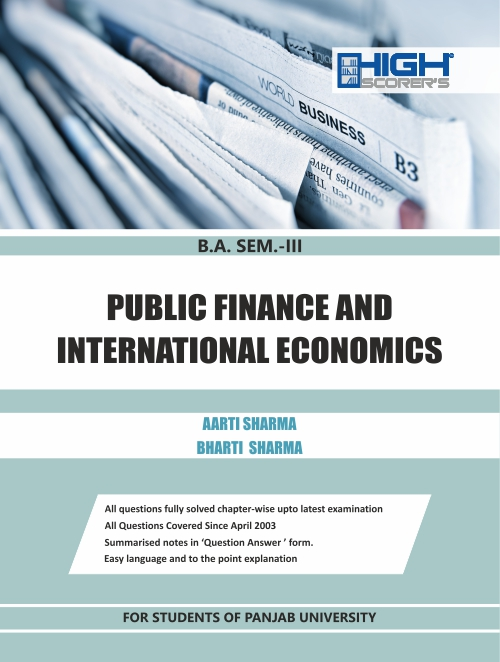 High Scorer Publisher Public Finance and International Economics for B.A-III Sem Mohindra Publishing House For Dec 2020 Exam